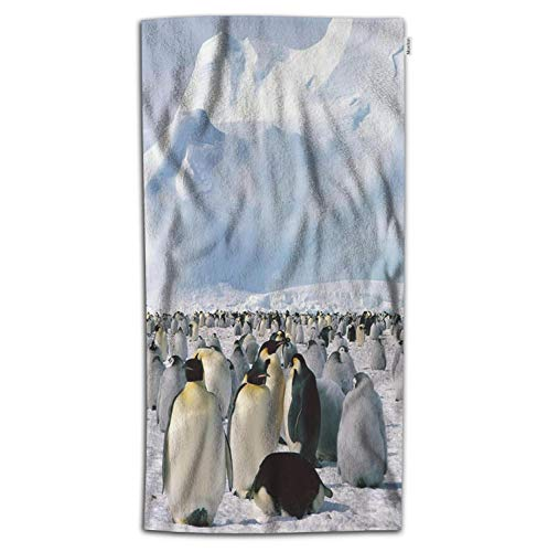 Moslion Penguin Bath Towel Cute Antic Animal Penguins White Snow Mountain Iceberg Towel Soft Microfiber Baby Hand Beach Towel for Kids Bathroom 32x64 Inch