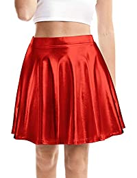Women's Shiny Skirt Metallic Flared Pleated Skater Skirt with High Elastic Waistband