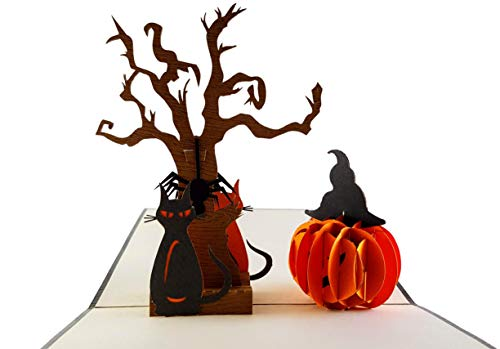 iGifts And Cards Halloween Black Cat and the Spooky Tree 3D Pop Up Greeting Card - Meow, Pumpkin, Spider Web, Spider, Jack-O-Lantern, Scary, Spooky, Half-Fold, Unique, Fun, Kitten, Special Occasion -