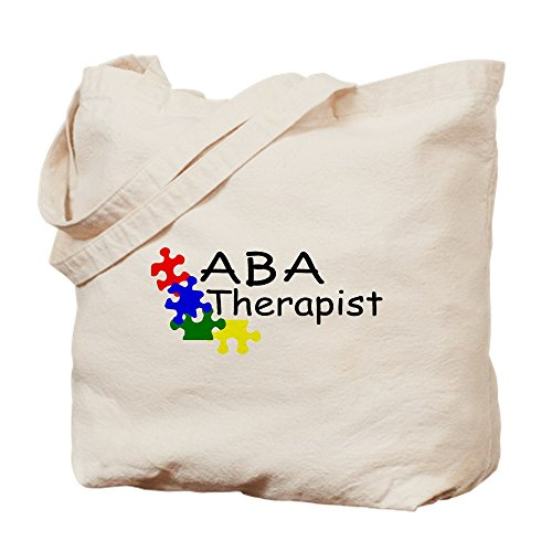 CafePress - ABA Therapist - Natural Canvas Tote Bag, Cloth Shopping Bag (Awareness Style Ribbon Puzzle)