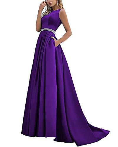 Jewel Neckline Dress - Beaded Satin Prom Dresses Long with Pockets Jewel Neckline Princess Ball Gown (Purple-10)