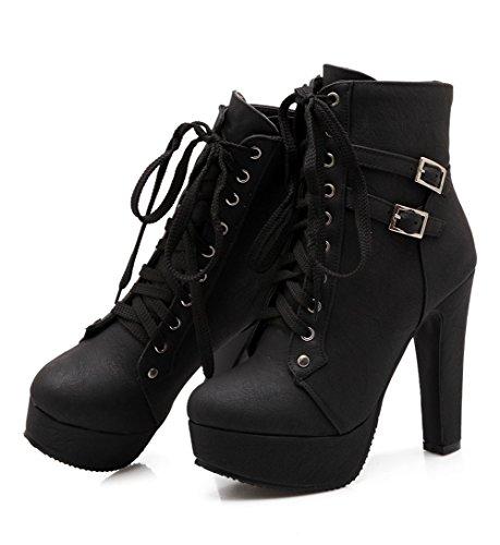 Damen Plateau Stiefeletten Absatz Ankle Boots Schnürsenkel Frühling Herbst Absätzen Stiefeletten Schnalle Blockabsatz Schuhe Outdoor Stiefel Schwarz