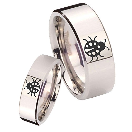 His and Hers 2pcs Titanium Lady Bug Silver Pipe Cut Wedding Ring Set Size 6, 10