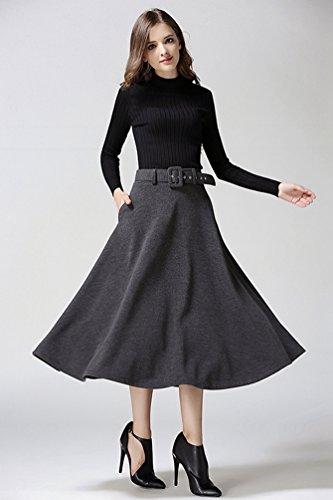 Jupes Gris ligne Femme Jupe Haute Loisirs Ceinture Maxi Fonc Taille A avec Heheja axpEwUqPP