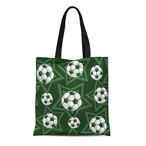Semtomn Cotton Canvas Tote Bag Black Football Dark Green Field Balls and Stars White Reusable Shoulder Grocery Shopping Bags Handbag Printed