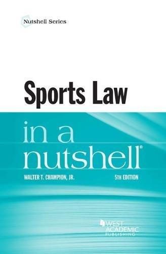 Sports Law In A Nutshell (Nutshells)