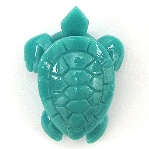 4 Pieces 33mm Synthetic Green Coral Carved Turtle Pendant beads