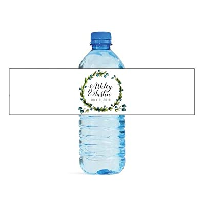 DesignThatSign Elegant Wreath on White Background Wedding Anniversary Engagement Party Bridal Shower Water Bottle Labels Birthday Party Bridal Shower Easy to Use Self Stick Labels: Toys & Games [5Bkhe0307114]