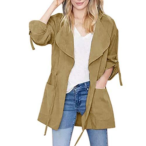 LuluZanm Women's Windbreaker Coat, Sale Ladies Fashion Long Sleeve Pocket Drawstring Jacket Hooded Outerwear Khaki