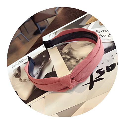 Bond Saucer Coffee (New high-end solid color fabric double side knotted bow with teeth non-slip hairband hair band women,Red)