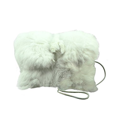 Real White Rabbit Fur Purse High Fashion Evening Bag Handbag Cell Phone Holder ()