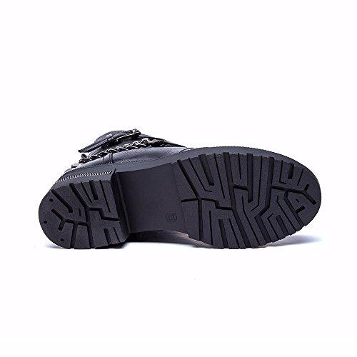 Femme Hiver Bottes Boucle Plates Loisirs Haut Chaussure Cachemire Bottines Plus Cestfini 5w7aqxgSa