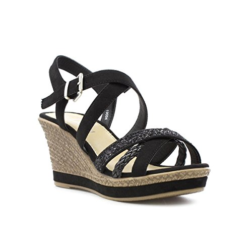 Lilley Womens Black Cross Strap Wedge Sandal Negro
