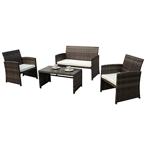 PATIOROMA 4pc Rattan Sectional Furniture Set with Cream White Seat Cushions, Outdoor PE Wicker, Espresso Brown