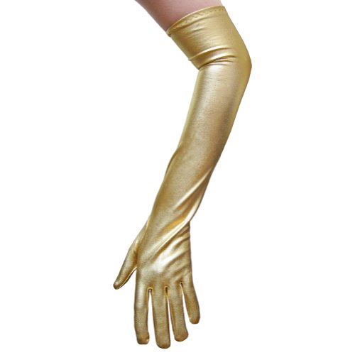 Gold Metallic Gloves ~ Great for Costumes, Party, Prom, Mardi Gras (STC12091)