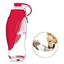 Portable Pet Water Bottle by LumoLeaf, Reversible & Lightweight Water Dispenser for Dogs and Cats, Made of Food-Grade Silicone (20 oz) …