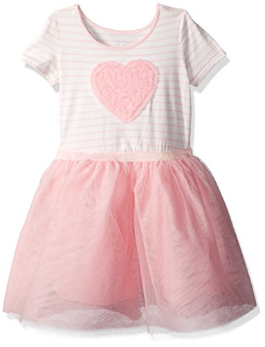 The Children's Place Baby Toddler Girls' Short Sleeve Casual Dresses, Pink Blossom 3867, - Pink Heart Dress