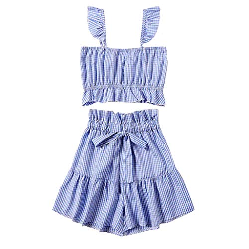 Womens Sexy 2 Piece Outfits Sleeveless Ruffle Cami Crop Tops Belted Plaid Print Smocking Wide Leg Shorts Soft Breathable Summer Casual Wear ()