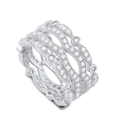 Cubic Zirconia Wide Ring (Sterling Silver Cz Wide Stacked Statement Ring - Size 4)