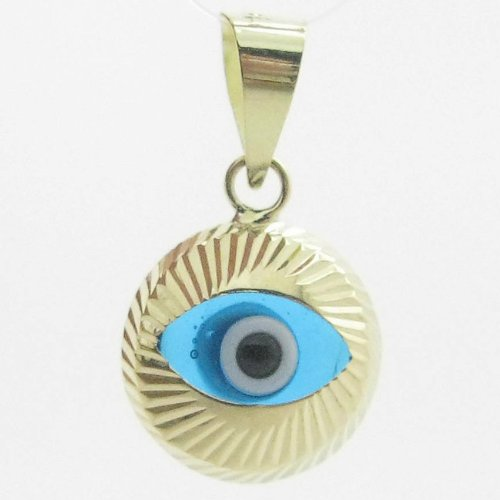 Womens bp1 kabbalah evil eye 14k solid yellow gold good luck charm pendant