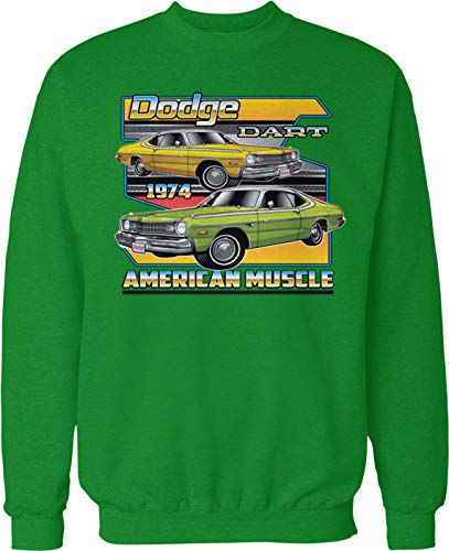 Hoodteez 1974 Dodge Dart, American Muscle Crew Neck Sweatshirt, L Kelly