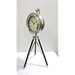 THORINSTRUMENTS (with device) RETRO Vintage Style Table Top Desk CHROME Clock Collectible Watch Decorative With Wooden TRIPOD