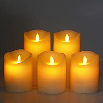 """Comenzar Flameless Candles,led Candles Realistic Moving Set Of 5(h4 4"""" 4"""" 6"""" 6"""" Xd3.25) Flickering Candles With Remote Timer(batteries Not Included) 3"""