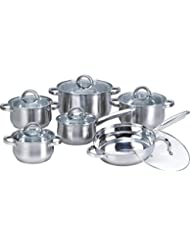 Heim Concept 12-Piece Induction Ready Stainless Steel Cookware Sets with Glass Lid, Silver on Cookware Sets Stainless...
