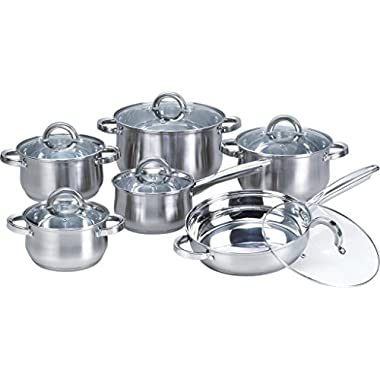 Heim Concept 12-Piece Stainless Steel Cookware Set with Glass Lid, Silver