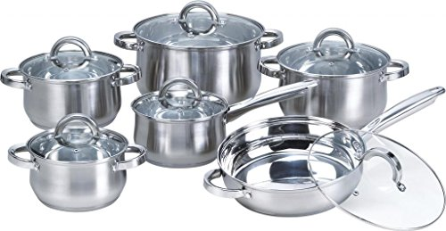 Heim Concept 12-Piece Induction Ready Stainless Steel Cookware Sets with Glass Lid
