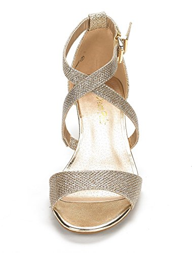 DREAM PAIRS Womens Jones Low Wedge Pump Sandals Gold lIz2cJsfs