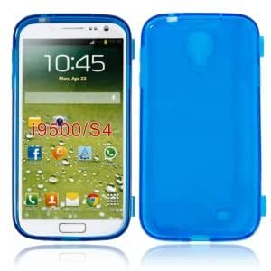 Transparent Flip TPU Protective Case for Samsung S4 i9500 Blue