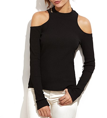 ton Knit T-Shirt Casual Long Sleeve Cold Shoulder Fitted Thermal Tee For Night Out (Black, Large) (Fitted Thermal)
