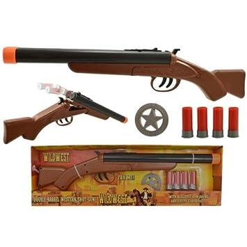 Barrel Shotgun Double Wild West Western Toy Kids Fun Shooting +