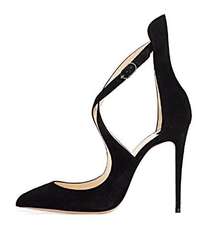 EDEFS Tacco Suede Caviglia Grande Alla Donna con Scarpe con Cinturino Alto Nero Taglia Scarpe faqfpFr