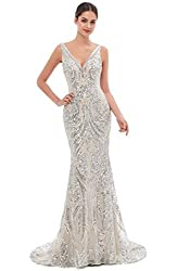 Silver V-Neck Sequin Sleeveless Lace-up Mermaid Dress