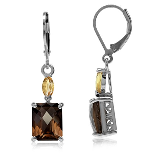 5.98ct. Natural Octagon Shape Smoky Quartz & Citrine 925 Sterling Silver Leverback Dangle -