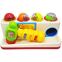 Zest 4 Toyz Hammer Ball Table Hit Ball with Music with Light Educational Toy Game Play Set - 4 Different Colored Balls and 1 Toy Pinball Hammer Included