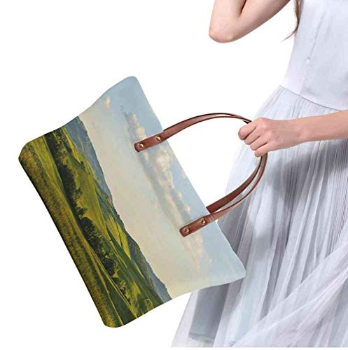 Custom Handbag Tote Shopping Bags Country,Tuscany Hills Italy Meadow Greenery Pastoral Rural Scenery Farmland Scenic,Green Pale Blue Printing Purse Set Designer