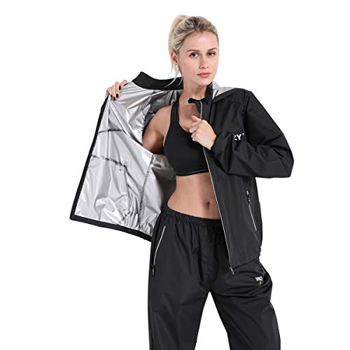 DNRZY F.I.T Sauna Sweat Suits Weight Loss for Women Plus Size Loose-Fitting Sauna Suits Fitness Gym Exercise Workout Clothes Hooded Jacket Pants Suits