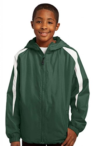 Sport-Tek Youth Fleece Lined Zipper Shell Jacket_Forest (Sport Tek Nylon Jacket)