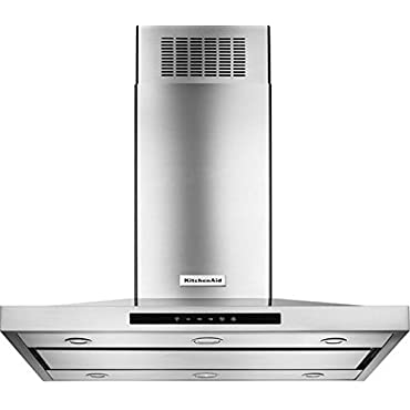 KITCHENAID KVIB602DSS 42 Island Chimney Range Hood with 600 CFM In-Line Blower, LED Task Lights, Halogen Night Lights, 3-Speed Electronic Touch Control, Auto Speed Setting, Automatic Turn On and Dishwasher Safe Grease Filters
