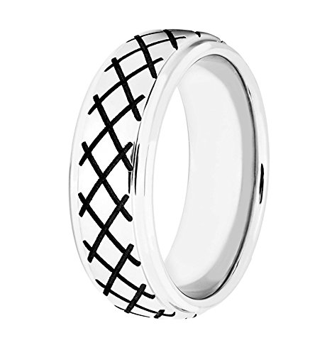 Men's Cobalt, Black Cross Hatch Design 8mm Comfort-Fit Band, Size 9.5 by The Men's Jewelry Store (Image #4)