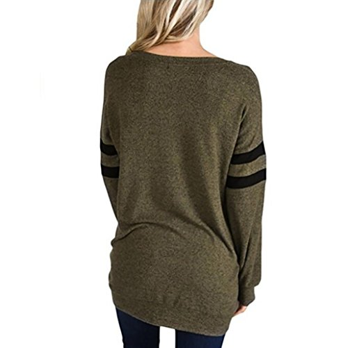 Rayures Blouse Longue Shirts Top Solide Angelof Chic O Col Femme Fille Ample T Vert Sweat 8xEfwa1Yq