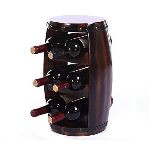 Goblet Place Card Holders - MDBYMX Wine Bottle Rack Wine Barrel Wine Rack Decoration Log Three Rows of 6 Card Slots Wine Rack Display Rack