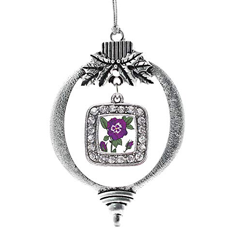 Inspired Silver - Pansy Flower Charm Ornament - Silver Square Charm Holiday Ornaments with Cubic Zirconia Jewelry ()