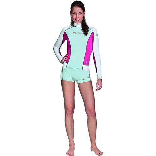 (Mares Women's She Dives Trilastic Rash Guard Shirt Long Sleeve - Black/Pink - 6)