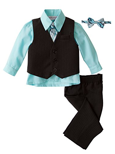 Spring Notion Baby Boys' 5 Piece Pinstriped Vest Set Aqua Size (Boys Easter Clothing)