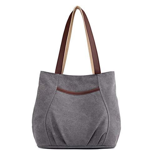 Women's Canvas Casual Shoulder Handbag Tote Bag Cotton Travel Totes Purses (Grey)