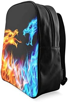 Abstract Blue Red Fiery Dragons Illustration College Bags College Women Bags Daypack Backpack Print Zipper Students Unisex Adult Teens Gift